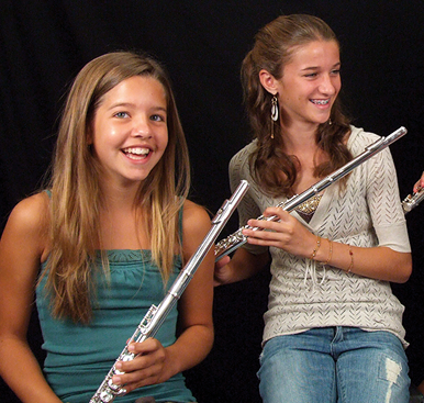 Students playing flute and piccolo